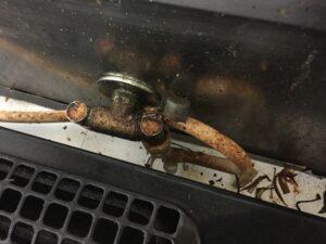 ガス栓部分の酷い汚れ